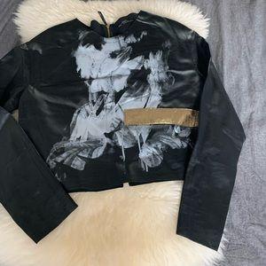 Faux Leather Cropped Top w/GoldAppliqué Detail